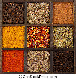 assorted herbs and spices in a decorative box, cloves, nutmeg, curry, chili powder, crushed chillies, dill seed, thyme, peppercorn, anise