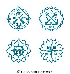 Assorted Hipster Logos on White Background - Simple Assorted...