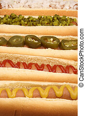 assorted hot dogs