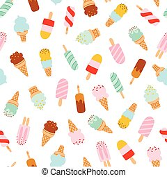 Assorted ice cream seamless pattern