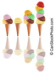 Assorted icecream scoops in cones