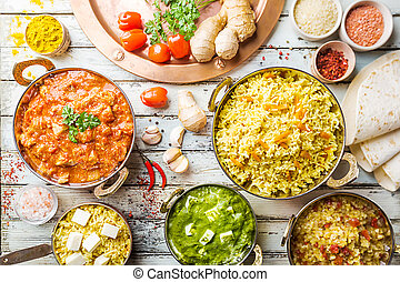 Assorted indian food - Different bowls with assorted indian ...