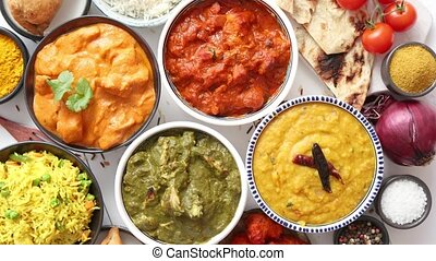 Assorted Indian various food with spices, rice and fresh...