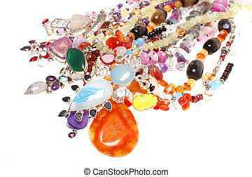 Assorted jewelry consisting of semiprecious stones and ...