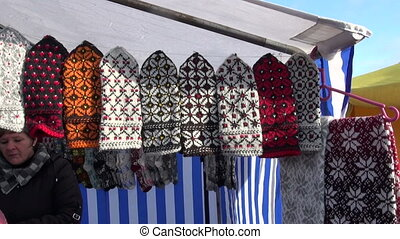 assorted knitted mittens collection in autumn fair