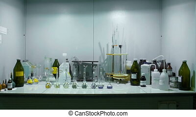 Assorted Labaratory Glassware Equipment In Modern Lab