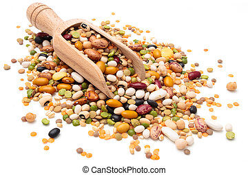 Assorted legumes. - Assorted legumes in wooden scoop....