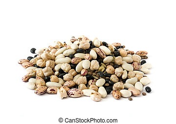 Assorted legumes isolated on white background.