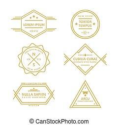 Assorted line vintage retro badges
