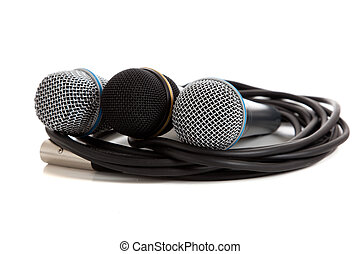 Assorted microphones on white