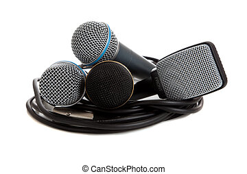 Assorted Microphones on White with a cord