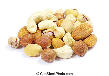 assorted mixed nuts - Assorted mixed nuts on white...