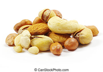 nuts - Assorted mixed nuts on white background