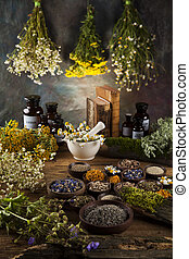 Assorted natural medical herbs and mortar on wooden table ...