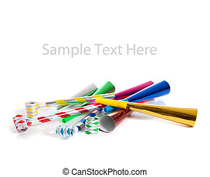 Assorted noise makers on white with copy space