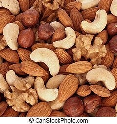 Assorted nuts (almonds, filberts, walnuts, cashews) close up
