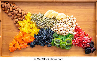assorted nuts and raisins in the shape of the map of...