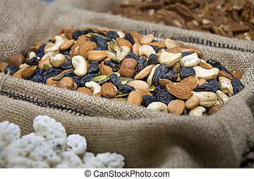 Assorted nuts and raisins