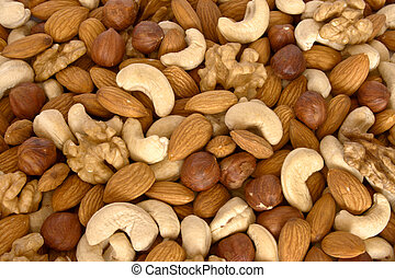 Assorted nuts close up