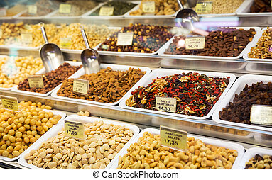 Assorted nuts in local market
