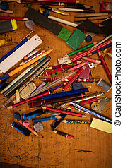 Assorted objects background top view - Assorted objects ;...