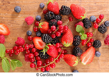 assorted of berries fruits- strawberry, blueberry, raspberry and red currant