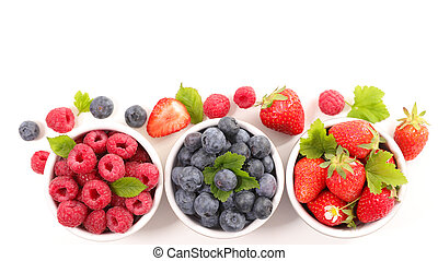 assorted of berry fruit- blueberry, strawberry and raspberry isolated on white background