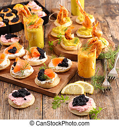 assorted of finger food, buffet food with verrine and canape...