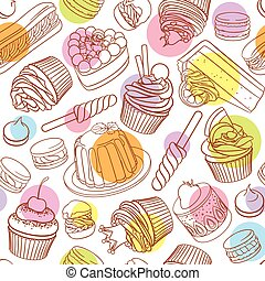 Assorted outlined colorful desserts. Seamless vector pattern...