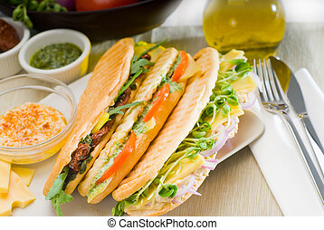 assorted panini sandwich - assortment of fresh homemade...
