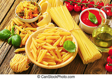 Assorted pasta and other ingredients - Assorted pasta, ...