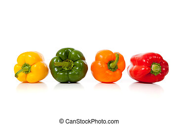 Assorted peppers on white