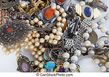 Assorted pile of jewellery