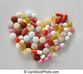 Assorted pills on the table