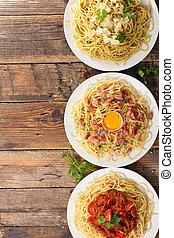 assorted plate of spaghetti