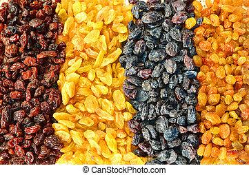 Assorted raisins background