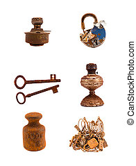 assorted rusty metal  objects on white