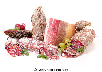 assorted salami on white background