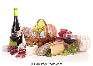 assorted salami,cheese and wine