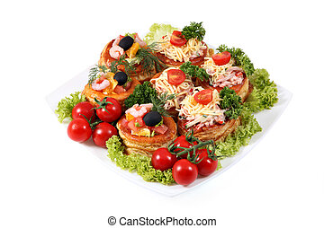 Assorted sandwiches with cheese, ham, shrimp and salmon on...