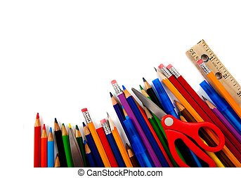Assorted school supplies on white