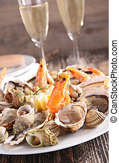 assorted seafood and champagne