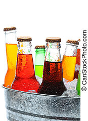 Assorted Soda Bottles in Bucket