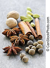 Assorted spices - Assorted whole spices close up on wooden...