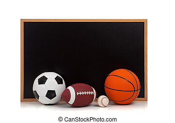 assorted sports balls with a chalkboard background