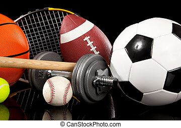 Assorted sports equipment including a basketball, soccer ball, tennis ball, bat, tennis racket, football, dumbells and baseball