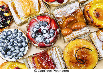 Assorted tarts and pastries