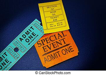 assorted ticket stubs on blue