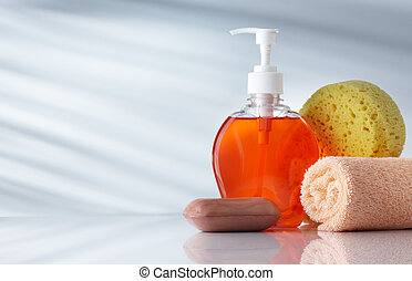 toiletries - assorted toiletries on grey background with ...