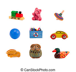 assorted toys collection isolated on white